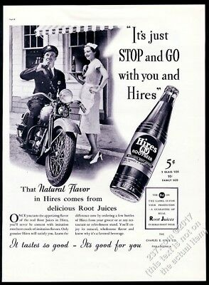 1937 motorcycle police officer waitress photo Hires Root Beer vintage print ad