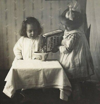 1920s~Little Girls Pouring Kellogg's Toasted Corn Flakes Cereal~Vintage Photo