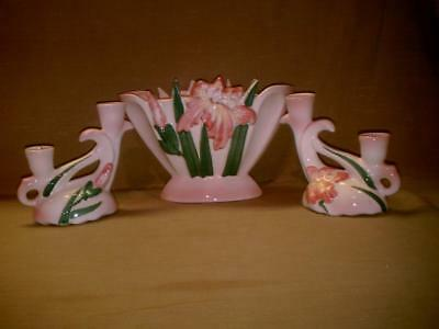 Camark Pottery Bas Relief Iris Vase & Candle Holders-Rose Pink-Lechner 269-809R
