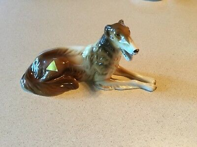 Vintage Royal Dux Bohemia dog figurine from Czech Republic Russian wolfhound vgc