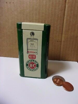 Vintage Green Sinclair H-C Gasoline Pump Tin Litho Advertising Coin Bank    T*