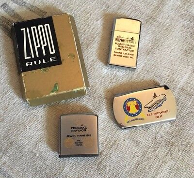 Lot of Vintage Zippo Collectibles, Ad Lighter USS Belt Buckle & Ad Measure Tape