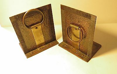 Vintage Antique Arts & Crafts Hand Made Brass Copper Hand Hammered Bookends