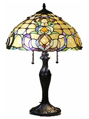 """Tiffany Style Stained Glass Table Lamp """"Dublin"""" FREE SHIP"""