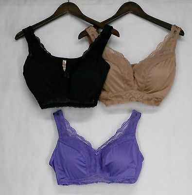 Rhonda Shear Size L 3-Pack Lace Leisure Bra Set w/ Removable Pads Tropical