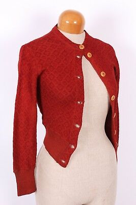 Vtg 30S Wool Blend Cardigan Sweater Womens Size Small