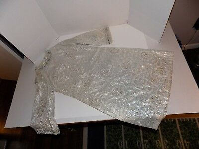 Vintage 1960's Formal Dress-White with Silver Thread Lot #12