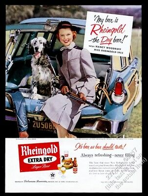 1955 Miss Rheingold beer and English Setter photo vintage print ad