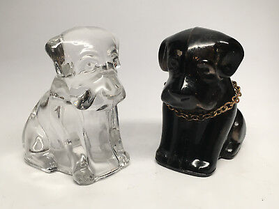 Vintage Glass Candy Containers - Amber Brown and Clear Glass Dogs