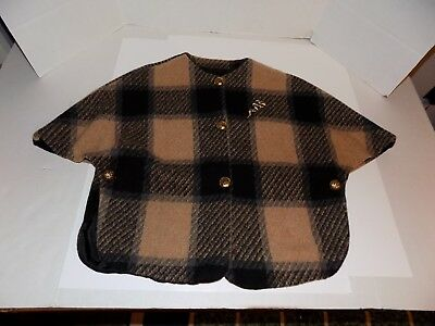 Vintage 1970's Plaid Wool Cape Wrap Lot #20