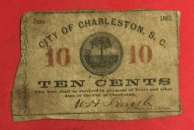 """1862 US """"Charleston SOUTH CAROLINA"""" """"TEN CENTS Fractional Obsolete Currency"""