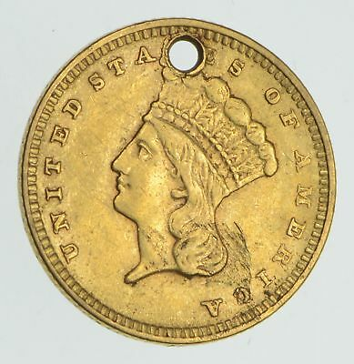 1856 Indian Princess Head Gold Dollar *Condition: Hole *4262