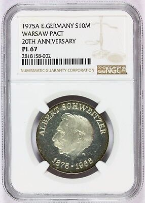 1975-A East Germany Warsaw Pact 10 Mark Silver Prooflike Coin KM# 56 - NGC PL 67