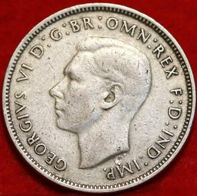 1947 Australia 1 Florin Silver Foreign Coin Free S/H