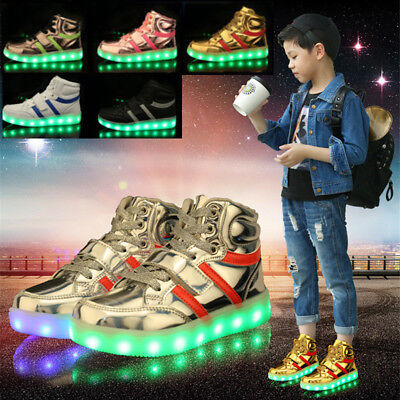 Kids LED High Top Luminous Shoes Children Boys Girls Light Up Trainers Sneakers