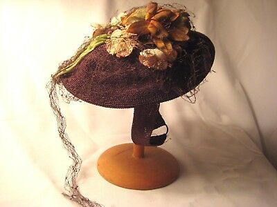VINTAGE GIRLS YOUNG LADIES CHOCOLATE BROWN WOVEN TOPPER HAT-FLOWERS-NET-1940s