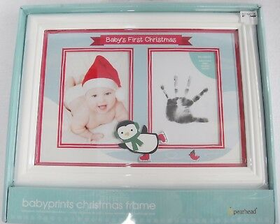 Babys First Christmas Picture and Hand Print Frame White Collage Penguin NWT
