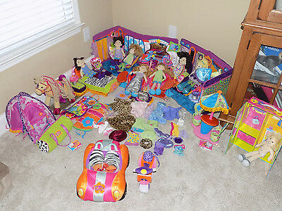 Huge Lot of Groovy Girls- Vehicle Dolls Salon Tent Sleeping Bag Chairs Bed