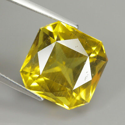 Fabulous 14.24 Ct Natural Unheated Yellow APATITE Cushion Gem @ See Video !!