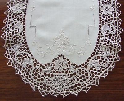 Beautiful Cream Vintage Embroidered Table Centre With Deep Needle Lace Edging