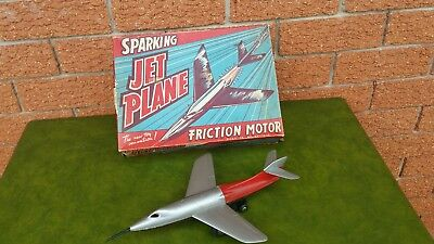 Rare Vintage 1950's Boxed Sparking Friction Jet Plane Toy By Louis Marx