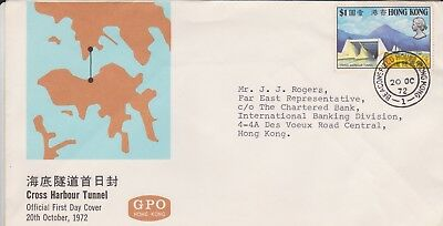 Hong Kong China & Gb Stamps First Day Cover 1972 Harbour Tunnel From Collection