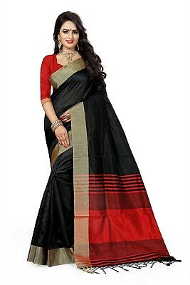 Bollywood Indian Ethnic Traditional  wear Black Cotton Silk Woven Saree-3130