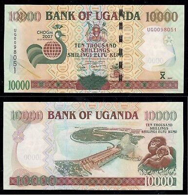 Uganda 2007 UNC Commemorative 10,000 Shillings  Banknote P 48 CHOGM Commonwealth