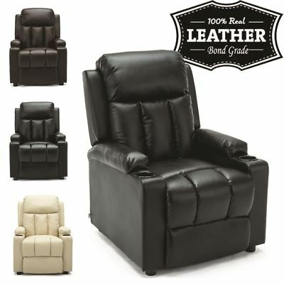 STUDIO LEATHER RECLINER w DRINK HOLDERS ARMCHAIR SOFA CHAIR CINEMA GAMING