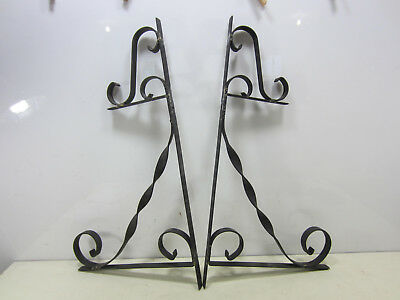 2 Vintage Outdoor Wrought Iron 2 Tier Shelf or Planter Brackets for Projects #2