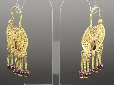 BEAUTIFUL PAIR OF ANCIENT BYZANTINE GOLD EARRINGS CIRCA - 9th Century AD  02