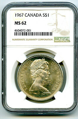 1967 $1 Canada Silver Dollar Ngc Ms62 Flying Goose Reverse - Ms Uncirculated 001