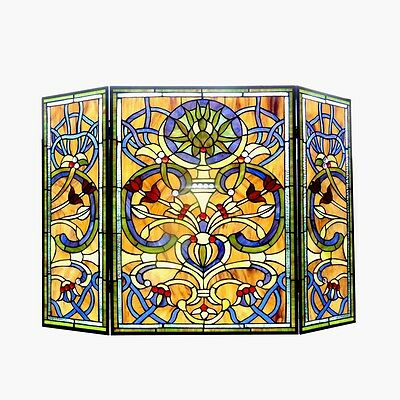 "Victorian Style Stained Glass Three Piece Fireplace Screen 28"" T x 40"" W"