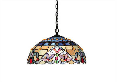 Stained Cut Glass Hanging Ceiling Pendant Lamp Light Fixture Beautiful Colors