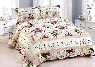 LAST ONE THIS PRICE NEW 3 PC Shabby Country Rose Red & Off White King Quilt Set