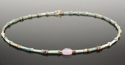 Beautiful Ancient Egyptian New Kingdom Faience Bead & Amethyst Scarab Necklace