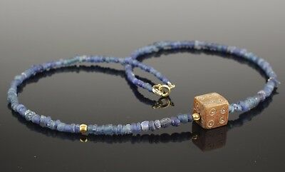 BEAUTIFUL ANCIENT ROMAN DIE & GLASS BEAD NECKLACE - CIRCA 2nd Century AD 002