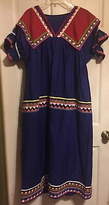 Seminole Miccosukee Indian Handsewn Blue/red/yellow Patchwork Long Dress~Exc
