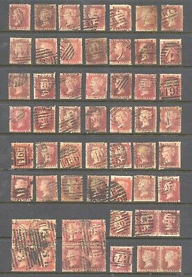 GREAT BRITAIN , VICTORIA , 1d red PLATES X 56 ,  used , unsorted. minor faults
