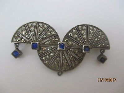 Vintage French Art Deco Sterling And Marcasite Pin Brooch