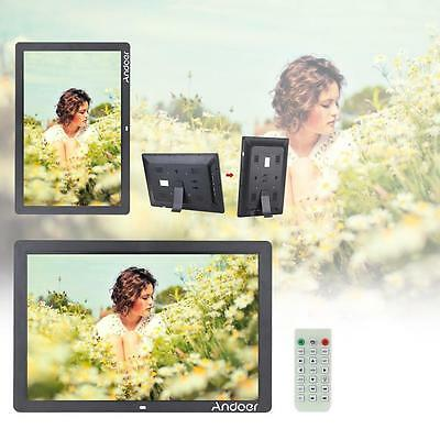 "17"" LED HD 1080P Digital Photo Frame Picture Alarm Clock MP3/4 Movie Player W8E3"