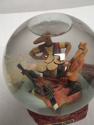 Water Globe 4 1/2 Inch Round 6Inch Tall  Labeled Coyote Jazz