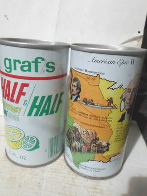 Qty = [2] Graf`s Straight Sided Steel Soda Cans / Pop Cans