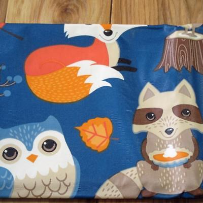 ALL SIZES~Fox/Owl/Leaves Fall Vinyl Tablecloth~Flannel Back~Thanksgiving