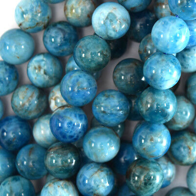 "Natural Blue Apatite Round Beads Gemstone 15.5"" Strand 4mm 6mm 8mm 10mm 12mm"