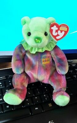 Ty Beanie Babies baby Birthday Bear August -  MWMT