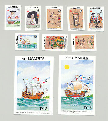 Gambia #788-797 Ships, Explorers, Maps 8v & 2v S/S Imperf Proofs