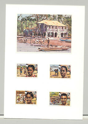 Gambia #599-603 Youth Year, UN, Crocodiles 4v & 1v S/S Imperf Proofs on Card