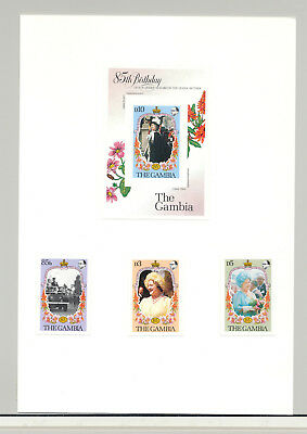 Gambia #556-559 Queen Mother 3v & 1v S/S Mounted on Card