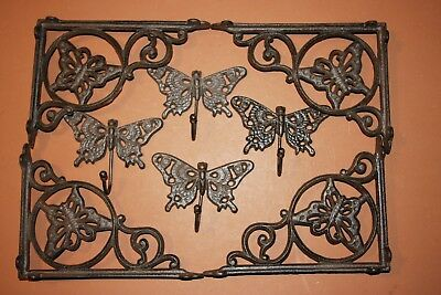 (8) Vintage-look Garden Design Shelf Brackets, Wall hooks, Cast Iron, Butterfly